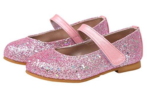 Ozkiz Girl Kids Dress Ballet Flat Elastic Ankle Strap Faux Suede Shoes PK (Glitter Suede Kids Shoes)