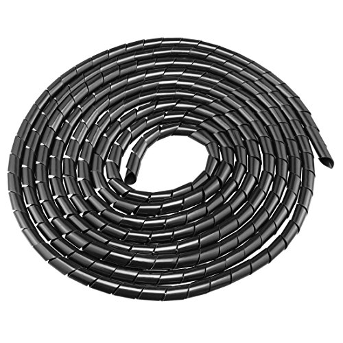 uxcell 14mm Flexible Spiral Tube Cable Wire Wrap Computer Manage Cord Black 4.5-6M 18' Polyethylene Sleeve