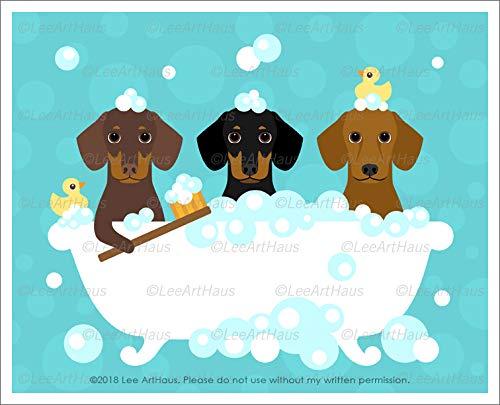 602D - Three Dachshund Dogs in Bubble Bath UNFRAMED Wall Art Print by Lee ArtHaus