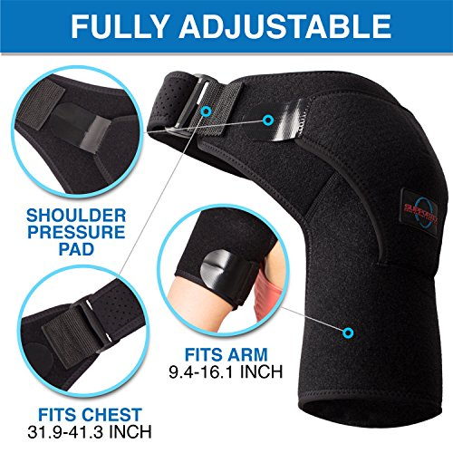 Shoulder Brace for Women and Men - Left Right Shoulder Support Brace for Rotator Cuff AC Joint Dislocated Shoulder - Adjustable Neoprene Shoulder Brace - Compression Shoulder Sleeve by Supportex (Image #3)