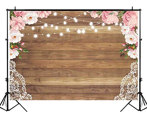 Funnytree 5X3ft Flowers Brown Wood Lace Backdrop Wedding Floral Photography Background Rustic Wooden Board Floor Bridal Shower Baby Birthday Party Banner Photo Studio - Photography Floral Backgrounds