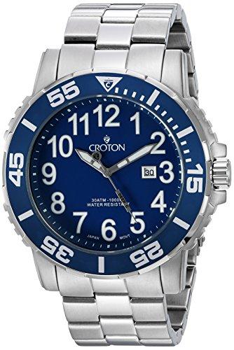 CROTON Men's CA301280BUBL Analog Display Quartz Silver Watch Croton Quartz Bracelet