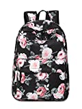 Leaper Laptop Backpack Women Travel Bag Satchel Handbag Floral Black (Small Image)