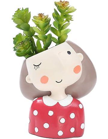 Maceta de Flores ♥ SUNNSEAN Diseno de Dibujos Animados Nina Adorable Contenedor Suculento Tiesto Maceta Bonsai