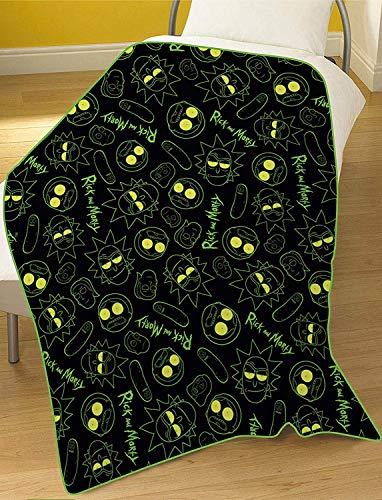 Kids Children Favourite Characters Rotary Panel Fleece Blanket Throw (Rick & Morty Black)