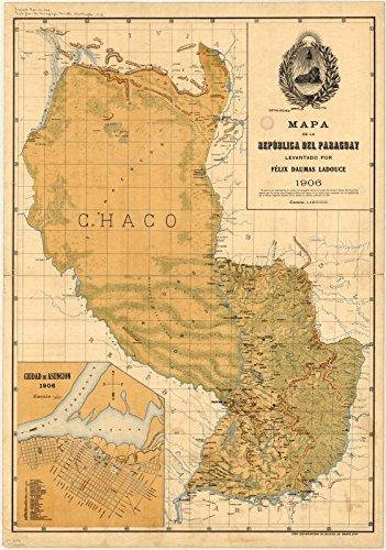 Historic Map Reproductions - Historic Map | Paraguay 1906 | Mapa de la republica del Paraguay | Antique Vintage Reproduction 16in x 24in