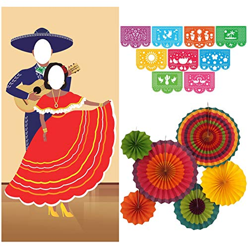 (Jelda's Fiesta Couple Photo Door Banner with Fiesta Party Decorations | Mexican Party Decorations and Supplies | Theme Decor for Cinco De Mayo | Large Papel Picado Banner | Colorful)