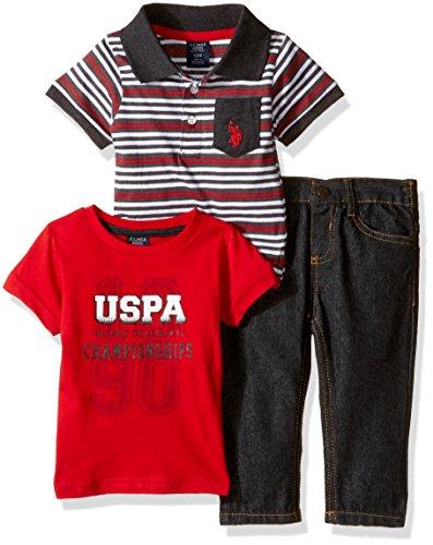 U.S. Polo Assn. Baby Boys 3 Piece T-Shirt, Denim Jean Set