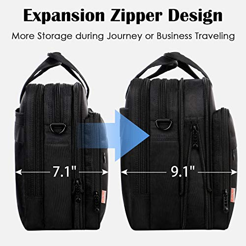 17 inch Laptop Bag, Large Business Briefcase for Men Women, Travel Laptop Case Shoulder Bag, Waterproof Carrying Case Fits 15.6 17 inch Laptop, Expandable Computer Bag for Notebook, Ultrabook by Mancro (Image #4)