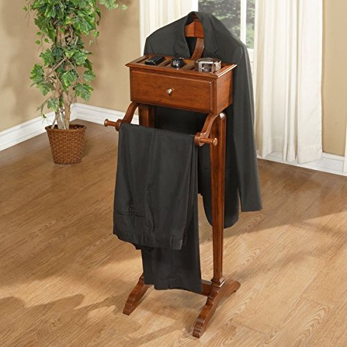 (Cherry Finished Closet Valet (Coat Rack, Pant Rack, Drawer Unit, & Top Storage Unit All In One))