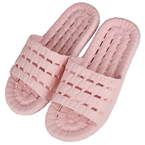 Andux Zone Zapatillas de baño Hilo vacíos de color de caramelo sólido Inicio Zapatillas JJTX-01 Rosa
