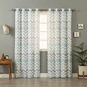 Aurora Home Mint and Grey Wave Chevron Pattern Curtain Panel Pair 84 Inches