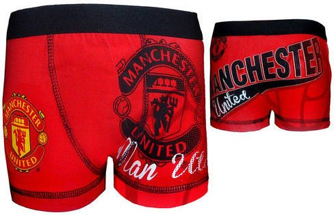 Official MANCHESTER UNITED FC kids red boxer shorts age 7/8 years TDP TEXTILES LTD