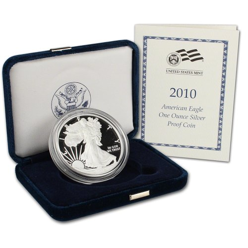 2010 W American Silver Eagle Proof $1 OGP US - American Silver Coin Eagle Proof