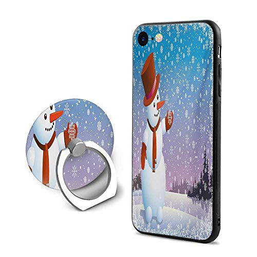 Snowman iPhone 6 Plus/iPhone 6s Plus Cases,Cartoon Happy Snowman Looking at The Snowflake ICY Winter Scenery Evergreen Woods Multicolor,Design Mobile Phone Shell Ring Bracket