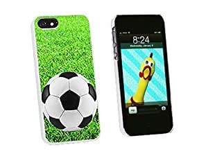 Graphics and More Soccer Ball on Grassy Field Snap-On Hard Protective Case for iPhone 6 plus 5.5 - Non-Retail Packaging - White