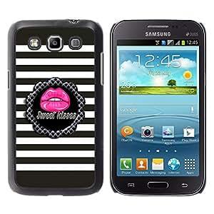For Samsung Galaxy Win / I8550 / I8552 / Grand Quattro Case , Sweet Kiss Stripes Pattern Grey Pink - Diseño Patrón Teléfono Caso Cubierta Case Bumper Duro Protección Case Cover Funda