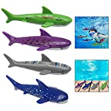 Xrten Set of 4 Pcs Underwater Game Diving Shark Toys, Pool Water Toys Set for Training Kids