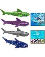 Xrten Set of 4 Pcs Underwater Game Diving Shark Toys, Pool Water Toys Set for Training Kids