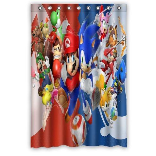 ScottShop Custom Sonic the Hedgehog Super Mario Shower Curtain Decoration High Quality Waterproof Polyester Fabric Bathroom Shower Curtains 48
