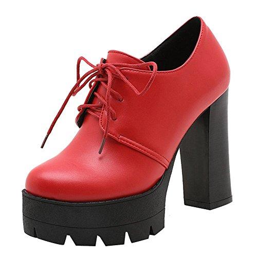 MissSaSa Damen high heel Plateau runde Spitze Pumps mit Schnürsenkel Rot