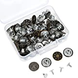 #4: Hestya 40 Sets Jeans Buttons Metal Button Snap Buttons Replacement Kit with Rivets and Plastic Storage Box (Silver and Bronze)