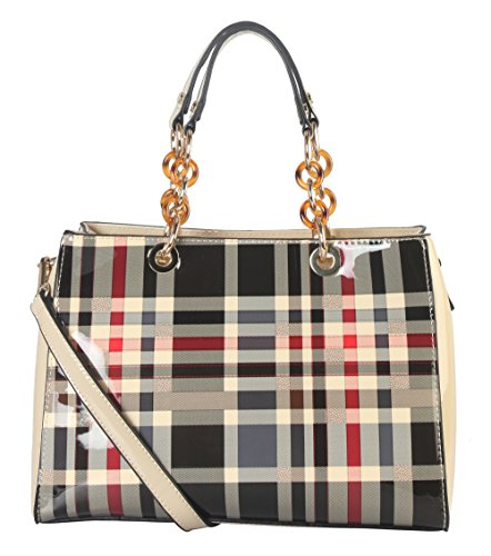 Diophy Shiny Patent PU Leather Plaid Pattern Tote with Faux Agate Ring Décor