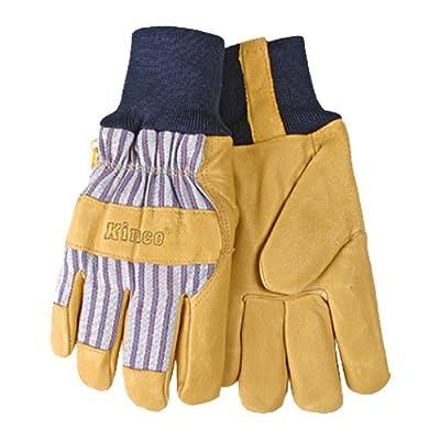 KINCO 1927KW-XS Men's Lined Grain Pigskin Gloves, Heat Keep Lining, Knit Wrist, X-Small, Golden