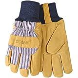 KINCO 1927KW-L Men's Lined Grain Pigskin Gloves, Heat Keep Lining, Knit Wrist, Large, Golden