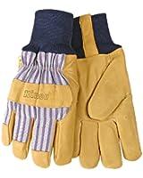 KINCO 1927KW-S Men's Lined Grain Pigskin Gloves, Heat Keep Lining, Knit Wrist, Small, Golden
