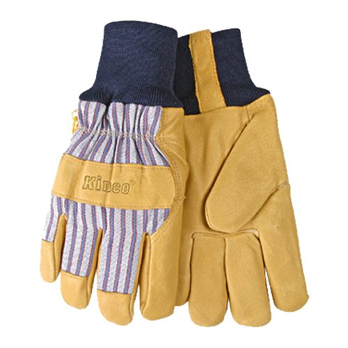 - KINCO 1927KW-L Men's Lined Grain Pigskin Gloves, Heat Keep Lining, Knit Wrist, Large, Golden