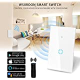 Wsiiroon Smart Light Switch, WiFi Wall Touch Switch Waterproof Tempered Glass Panel Wireless Remote Control Anywhere Compatible with Amazon Alexa and Google Home, Timing Function - No Hub Required
