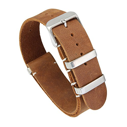 22mm Brown Deluxe Exquisite Handcrafted Vintage Leather Watch Straps Replacement for Men Tanned Leather
