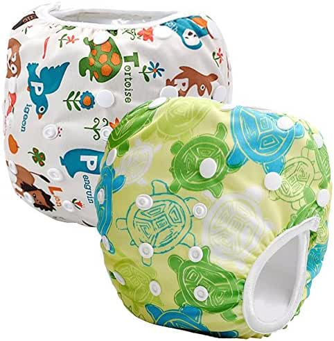 Storeofbaby 2pcs Reusable Baby Swim Diapers Washable Cloth Cover for Litte Swimmer