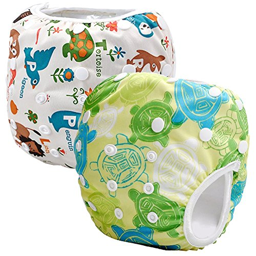 Storeofbaby 2pcs Reusable Baby Swim Diapers Washable Cloth Cover for Litte.