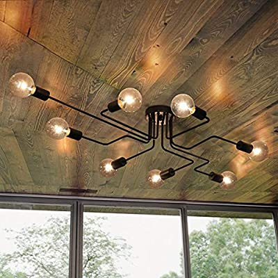 Lingkai Industrial Ceiling Light Vintage Chandelier Metal Pendant Light Creative Retro 8-Light Chandelier Lighting… - ●MATERIAL & DIMENSIONS - Made of metal. Fixture Width: 27.56in (70cm). Fixture Height: 6.3in (16cm). Fixture Length: 43.31in (110cm). Canopy width: 4.72in (12cm) ●BULBS - Bulb Type: LED/CFL/Incandesce. Bulb Base: E26. Wattage Per Bulb: Max 40W. (★The Bulbs are NOT Included) ●EASY INSTALL - Includes all mounting hardware for quick and easy installation. The pendant light design will add a fashionable look, while complementing your room's decor. - kitchen-dining-room-decor, kitchen-dining-room, chandeliers-lighting - 51r797v1QnL. SS400  -
