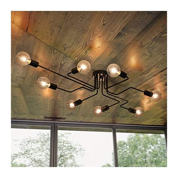 Lingkai Industrial Ceiling Light Vintage Chandelier Metal Pendant Light Creative Retro 8-Light Chandelier Lighting Fixture - ●MATERIAL & DIMENSIONS - Made of metal. Fixture Width: 27.56in (70cm). Fixture Height: 6.3in (16cm). Fixture Length: 43.31in (110cm). Canopy width: 4.72in (12cm) ●BULBS - Bulb Type: LED/CFL/Incandesce. Bulb Base: E26. Wattage Per Bulb: Max 40W. (★The Bulbs are NOT Included) ●EASY INSTALL - Includes all mounting hardware for quick and easy installation. The pendant light design will add a fashionable look, while complementing your room's decor. - kitchen-dining-room-decor, kitchen-dining-room, chandeliers-lighting - 51r797v1QnL. SS570  -