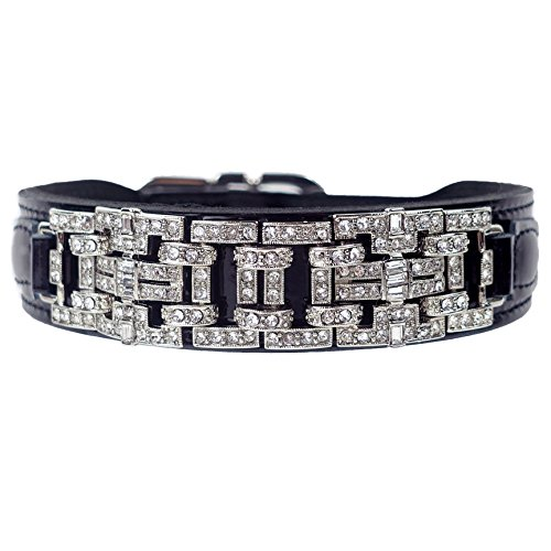 - Hartman & Rose Leather Dog Collar Silver Art Deco Design with Swarvoski Crystals and Adjustable Metal Buckle - Haute Couture Collection Jeweled Pet Collar Black Patent, 18 to 20 Inch