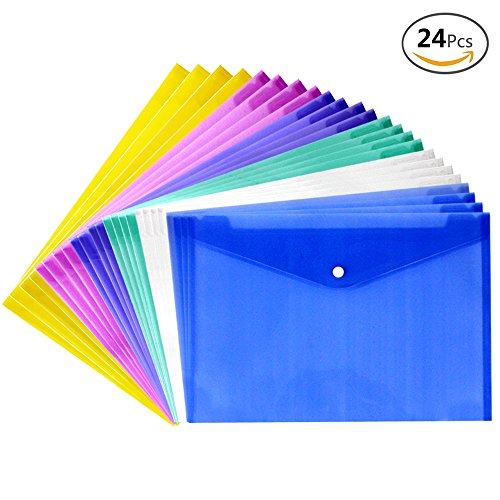JUSLIN Poly Envelope Folder with Snap Button Closure, 24PCS Waterproof Transparent Project Envelope Folder, A4 Letter (A4 Folder Size)