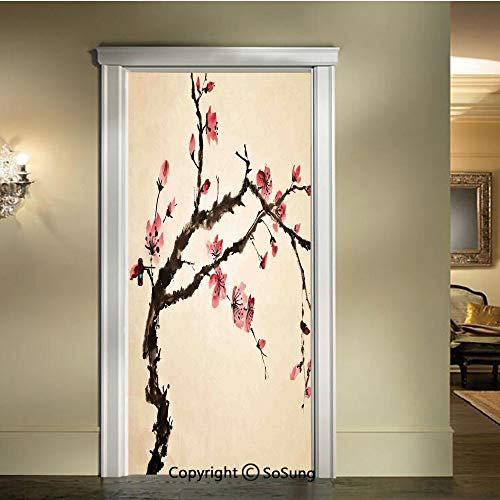 baihemiya Applique Sticker,Traditional-Chinese-Paint-of-Figural-Tree-with-Details-Brushstroke-Effects-Print,W30.3xL78.7inch,for Home Decor Self-Adhesive Removable Art Door - Pearl Figural