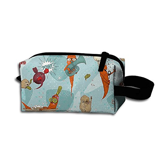 Makeup Cosmetic Bag Happy Funny Vegetables Medicine Bag Zip Travel Portable Storage Pouch For Mens Womens