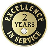 PinMart's Gold Plated Excellence in Service Enamel Lapel Pin w/ Rhinestone - 2 years