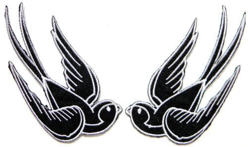 2 Bird Sparrow Swallow Dove Freedom Tatoo Lady Rider Jacket T shirt Patch Sew Iron on Embroidered Badge Sign (Wolf Trap Costumes)