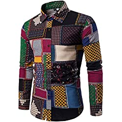 Hot Sale New Fashion Men's Tee Bohemia Retro Fashion Printing Short Sleeve Casual Long Sleeve Business Slim Fit Shirt Print Blouse Top by Neartime (L, Multicolor)