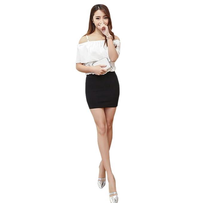 db22685312c Amazon.com  BOZEVON Women s Short Pencil Skirt Plus Size Solid Color ...