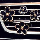INEBIZ Car Charm Beautiful Daisy Flowers Air Vent Decorations Cute Automotive Interior Trim, 4 pcs with Different Sizes (Black)