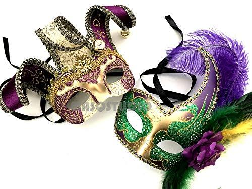 Jester Gras Mask Mardi Costume - Couples Masquerade Jolly Jester Mask Cosplay Mardi Gras Prom Dance Birthday Party Wear or Deco (Mardi Gras)