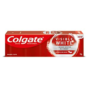 Colgate Visible White Sparkling Toothpaste - 100 g (Mint) and 360 Visible White Toothbrushwith Plax Complete Care Mouthwash- 250 ml