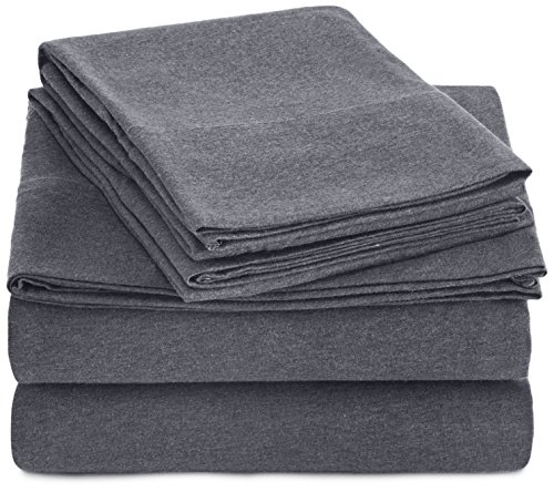 AmazonBasics Heather Cotton Jersey Bed Sheet Set - King, Dark Grey