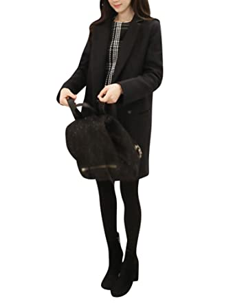 1acf9d7ad373 Femme Hiver Mélange de laine Manteau Veste Longue Casual Manteau d hiver  Veste Trench Coat